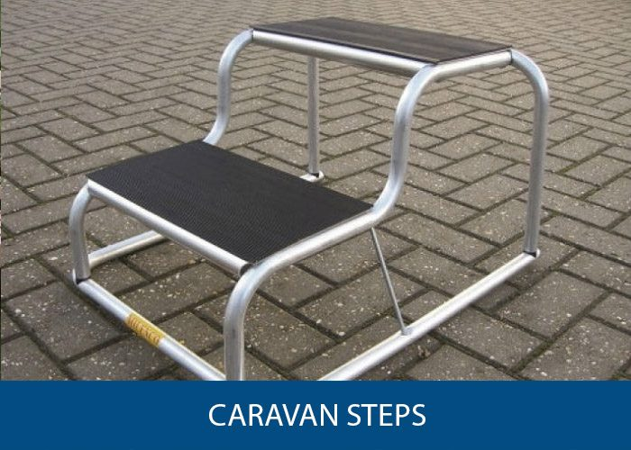 Caravan Steps [Double, Folding, With Handrail, Plastic]