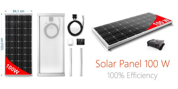 Monocrystalline 100W Solar Panel for Caravans