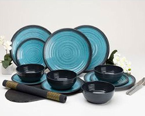 Twelve Piece Aqua Melamine Dinner Set from Grove
