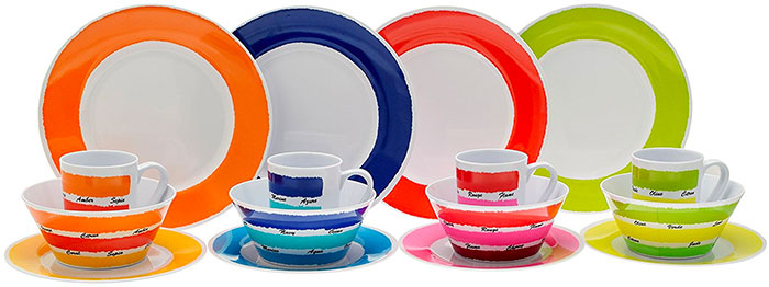 Sixteen Piece Colourful Melamine Dinner Set from Flamefield