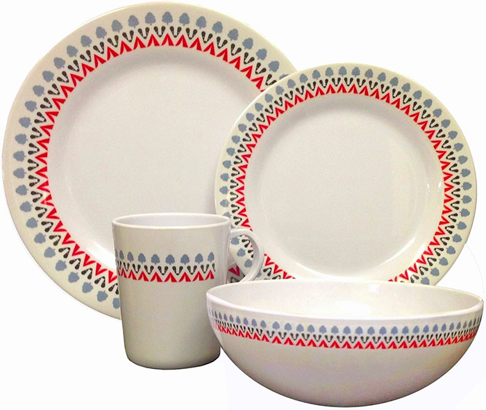 Sixteen Piece Contemporary Coloured Melamine Dinner Set from OLPro