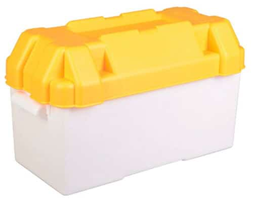 Caravan Yellow 110amp Leisure Battery Holding Box Large
