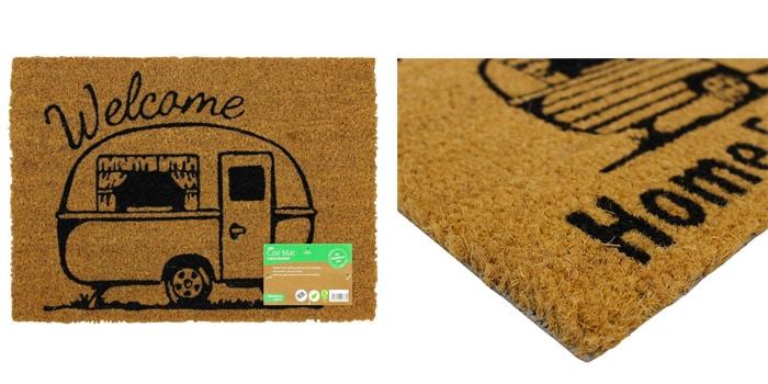 JVL Caravan Themed Latex Backed Coir Entrance Door Mat Welcome Design