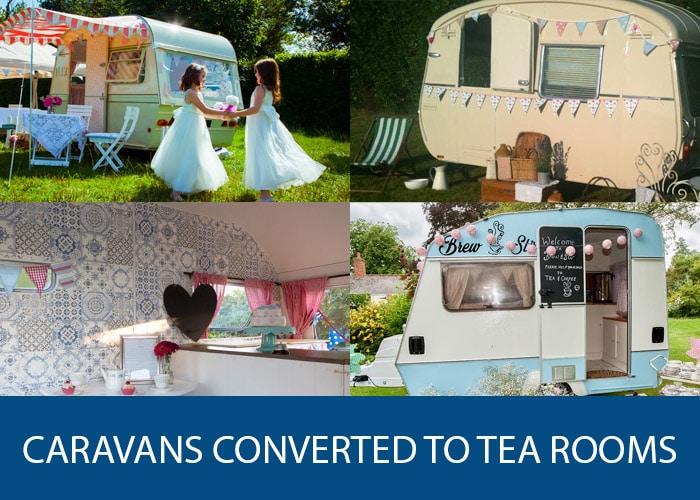 caravans converted to tea rooms
