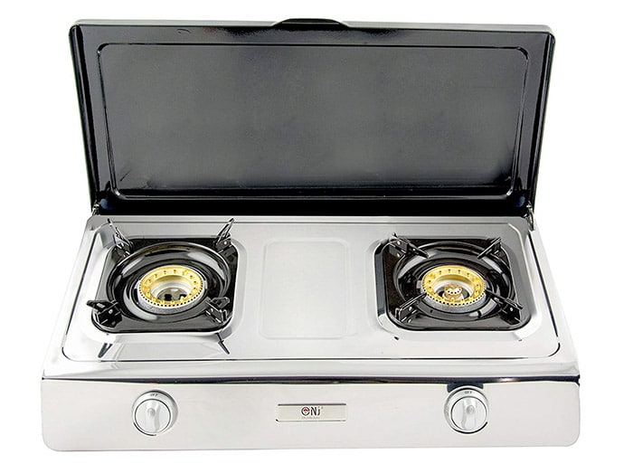 Gas Stove with Lid, 2 Burner