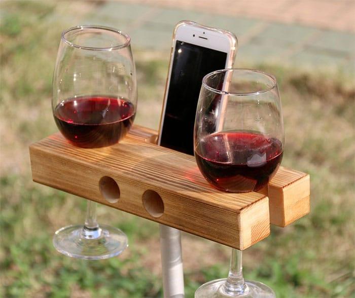 LEMO Handmade Outdoor Wooden Wine Glass Holder Phone Dock/Speaker