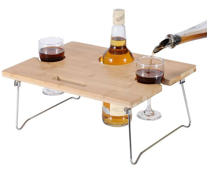 INNO STAGE Foldable and Portable Wine and Snack Table with Metallic Legs